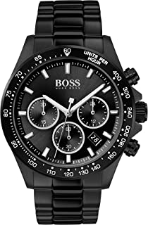 Hugo Boss Black Dial Ionic Plated Steel Watch For men