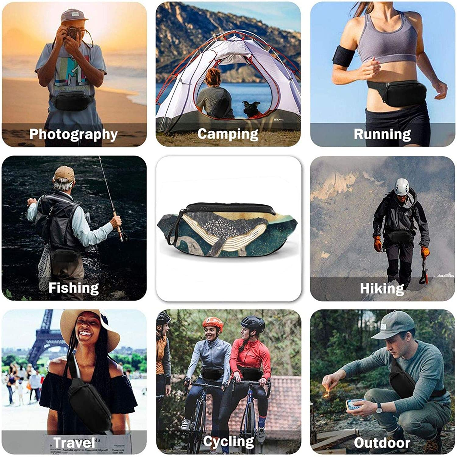 Two Whales Casual Fanny Waist Pack For Men Women Adjustable Belt Waist Bag For Traveling Hiking Cycling Running Festival Rave