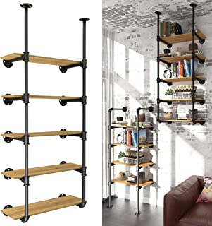 YITAHOME 5 Tier Pipe Shelves Wall Mounted Industrial Retro Iron Shelf, Open Pipe with Hanging Bracket, DIY Storage Shelves...