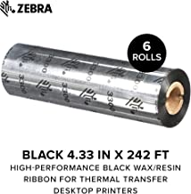 ZEBRA - High-Performance Black Wax/Resin Ribbon for Thermal Transfer Desktop Printers - 4.33 in Wide, 242 ft Long, 0.5 in Core - 6 Rolls