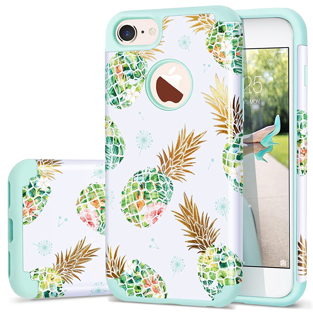iPhone 8 Case,Pineapple iPhone 7 Case,Fingic Silicone Pineapple Design CASE Anti-Scratch Shock Proof Protective Summer Case 2 in1 Hybrid Skin Cover for iPhone 8/7 4.7 Inch,Green