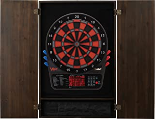 Viper Metropolitan Solid Wood Cabinet & Electronic Dartboard Ready-to-Play Bundle with Two Sets of Soft-Tip Darts and Integrated Storage in Multiple Stain Options