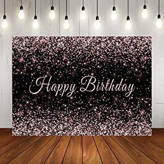 Sweet Glitter Rose Pink Dots Birthday Backdrop Happy Birthday Background for Girls Adult Woman's Birthday Party Banner Decorations Photo Studio Props 7x5ft Vinly