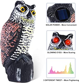Ohuhu Solar Powered Horned Owl Decoy with Flashing Eyes & 3 Different Scary Sounds, Fake Owl Scarecrow to Scare Birds Away