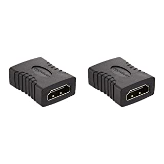 Amazon Basics HDMI Female to Female Coupler Adapter (2 Pack), 29 x 22mm, Black
