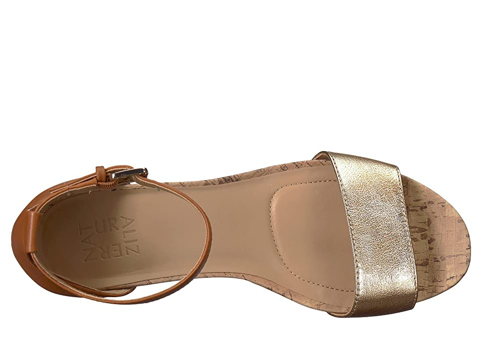 Naturalizer Cami (Tan/Gold Metallic Leather/Leather) Women's Wedge Shoes