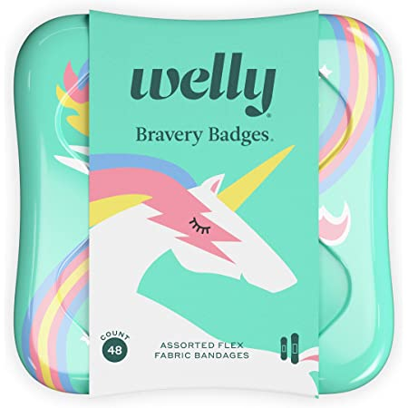 Welly Bandages - Bravery Badges, Flexible Fabric, Adhesive, Assorted Shapes, Rainbow and Unicorn Patterns - 48 ct