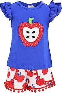 Unique Baby Girls Back to Grade School 2pc Apple Boutique Shorts Set