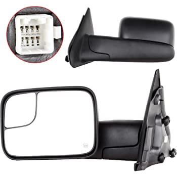 FINDAUTO Rear View Tow Mirrors Compatible with 2002-2008 Dodge Ram 1500 Truck 2003-2009 Dodge Ram 2500 3500 Truck Towing Mirrors with Left and Right Side Power Heated LED Turn Signal Chrome