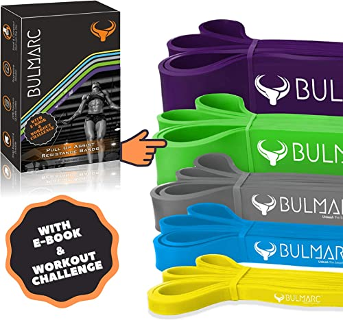 BULMARC's Resistance Band Pull Up Assist Bands Resistance Bands with 65+ Exercises for Workout, Chin Ups,Stretching, ...