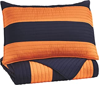 Ashley Furniture Signature Design - Nixon Coverlet Set - Twin - Youth - Orange/Navy