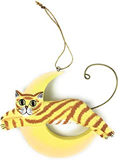 MS Tropical Cat Jumped Over The Moon Christmas Tree Ornament, Handmade Wood (Orange Cat)