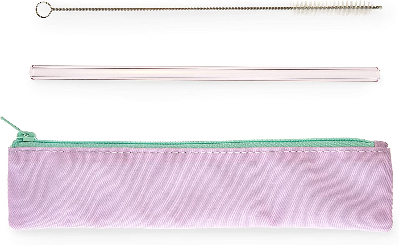 Max 81% OFF Blush Lavender Glass Straw size Set One Save money Purple