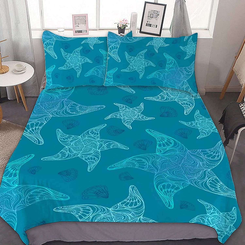 Ocean and Starfish Bedding Set 3 Max 84% Virginia Beach Mall OFF Ultra Piece Soft Comforter
