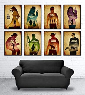 Quentin Tarantino Minimalist Movie Poster Set, 8 Artwork, Artwork Print, Django Unchained, Inglourious Basterds, Death Proof, Jackie Brown, Pulp Fiction, Kill Bill, Reservoir Dogs, The Hateful Eight