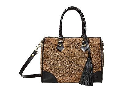 Patricia Nash Boretto Satchel (Tan/Black) Handbags