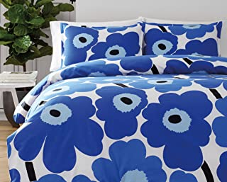 Marimekko 221461 Unikko Duvet Cover Set, Blue, Full/Queen