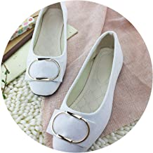 Summer-lavender Square Toe Flock Women Flats Shallow Mouth Slip On Women Shoes Metal Ring Single Shoes Woman