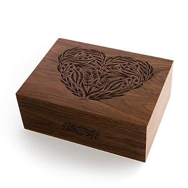 Floral Heart Laser Cut Wood Keepsake Box (Valentine's Day/Wedding/Anniversary/Baby Shower/Heirloom/Christmas Gift/Handmade)
