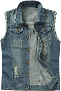 Mens Ripped Denim Vest Vintage Casual Biker Waistcoat Gilet Cowboy Sleeveless Jacket