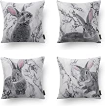 Phantoscope Set of 4 Decorative Spring Series Grey and White Rabbits Throw Pillow Case Cushion Cover 18 x 18 45 x 45 cm