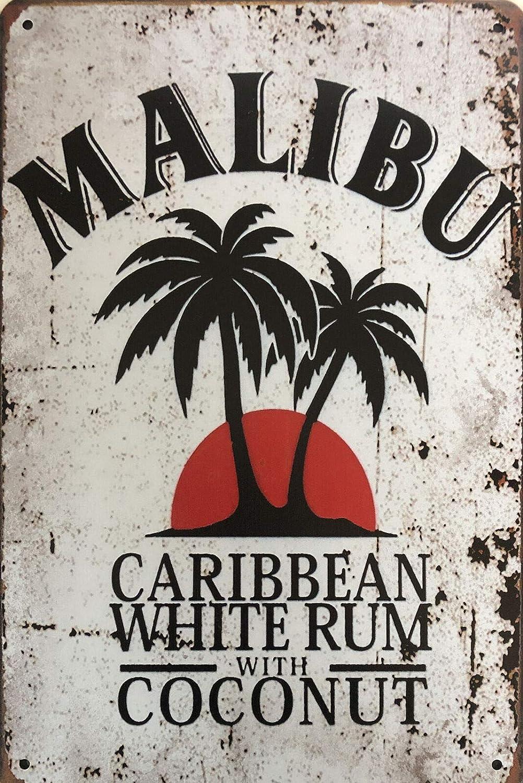 AMELIA SHARPE Metal Sign Malibu Rum tin Sign Vintage Bar Man cave Garage Kitchen Home Wall Decoration Art Sign 12 X 8 Inch