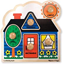 Melissa & Doug First Shapes Jumbo Knob Puzzle (Extra-Thick Wooden Construction, 5 Pieces, Great Gift for Girls and Boys - Best for Babies and Toddlers, 12 Month Olds, 1 and 2 Year Olds)