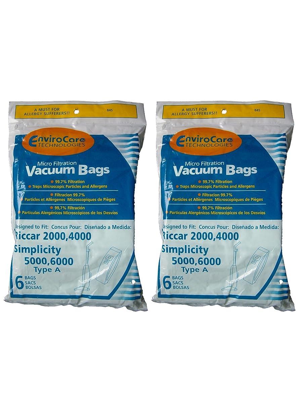 Riccar 2000 4000 Simplicity 5000 6000 Type A Upright Vacuum Cleaner Bags Bernina, Fuller Brush, Panasonic, Belvedere (2)