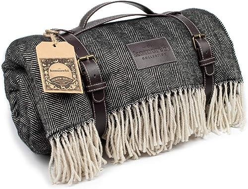 "KOMOREBI Large Outdoor Waterproof Picnic Blanket (78""x59"") Acrylic Wool Blend | Leather Carrier | Soft Herringbone Pa..."