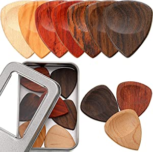 Yeshone 10 Pieces Exotic Wood Guitar Picks, 1 Guitar Picks Box Wooden Guitar Plectrums in African Red Sandalwood Chacate Preto Olive Wood Rosewood Maple Ebony Golden Sandalwood for Archtop Jazz Guitar