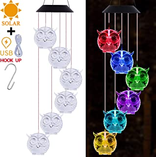 Solar Owl Wind Chimes Light Outdoor Decor- Solar Powered Owl Wind Chime, Changing Color LED Owls Solar Lights, Xmas, Gifts...