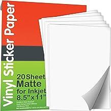 JOYEZA 𝗣𝗿𝗲𝗺𝗶𝘂𝗺 Printable Vinyl Sticker Paper for Inkjet Printer 𝟮𝟬 𝗦𝗵𝗲𝗲𝘁𝘀 Matte White Waterproof, Dries Qui...