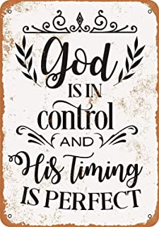 DYTrade Vintage Look Metal Sign 8 x 12 - God is in Control and His Timing is Perfect