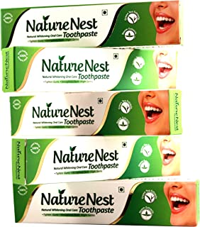 Nature Nest Herbal SLS Free Vegan Toothpaste - Natural Vegetarian Himalayan Green Tea & Neem Extracts 5 Pack Toothpaste ha...