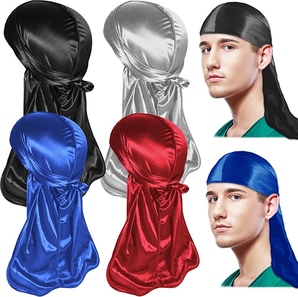4 Pcs Silky Durag, Wide Straps Long Tail Durag Pirate Chemo Cap for Men and Women, Breathable Unisex Silk Headwraps Bandana Turban Hat for Hip-hop and Daily Decoration(Red, Blue, Black, Silver)