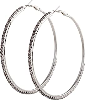 985ad797953 geralin gioielli – Boucles d Oreilles Grandes Créoles Argent Strass 7 cm  Fashion – Boucles