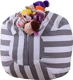 Stuffed Animal Storage Bean Bag Chair - Extra Large Stuff 'n Sit Organization for Kids Toy Storage - Gray stripes, 18inch