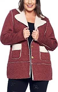 Talent Plus Women's Junior Plus Size Faux Shearling Collared Front Jacket