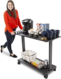 Stand Steady Coffee Cart on Wheels | Two Shelf Mobile Printer Cart or Rolling Desk | Turn Any Desk into an L-Shaped Desk in Seconds with This Add-On Desk Return! (42 inch/Black)