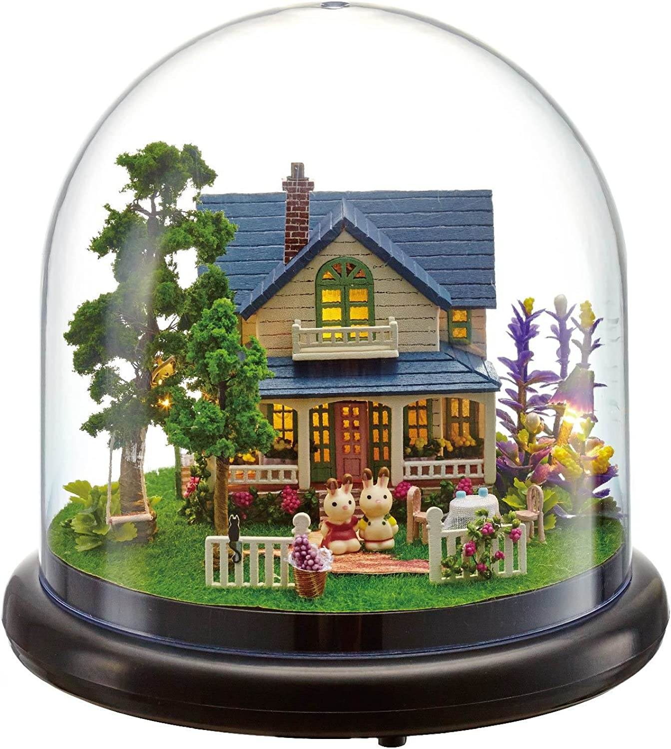 Aiweasi DIY Cottage with Transparent Cover Villa Model Music Box for Girlfriend Meaningful Gift