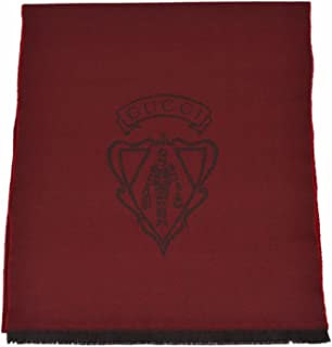Gucci Men's 100% Wool Hysteria Logo Scarf Muffler (Burgundy Red)