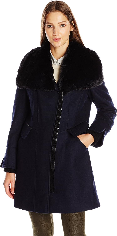 Via Spiga Women's Asym Wool Coat with Ff Collar and Pu Detail Trim
