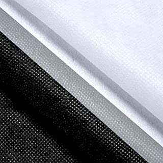 2 Pieces White and Black Fusible Interfacing Lightweight Non-Woven Polyester Interfacing Non-Adhesive Single-Sided Iron on...