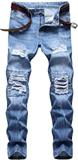 Men's Winter Thicken Casual Outfit Ripped Regular Straight Leg Fashion Denim Jeans Pants