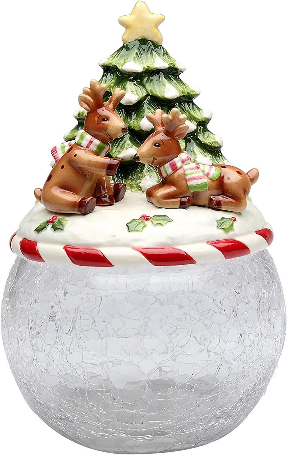 Cosmos Gifts Reindeer Tree Glass Dedication Cookie Ceramic with Lid cheap Jar 9-