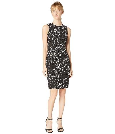 Calvin Klein Printed Sheath Dress CD8C2923 (Black/Cream) Women
