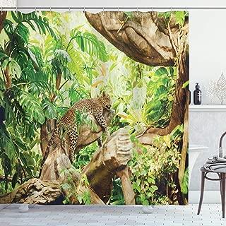 Ambesonne Safari Shower Curtain, Leopard on The Branch in Savannah Exotic Macro Tropical Leaf Jungle Wild Nature Art, Cloth Fabric Bathroom Decor Set with Hooks, 70