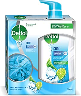 Dettol Cool Anti-Bacterial Body Wash 500ml With Puff - Mint & Bergamont
