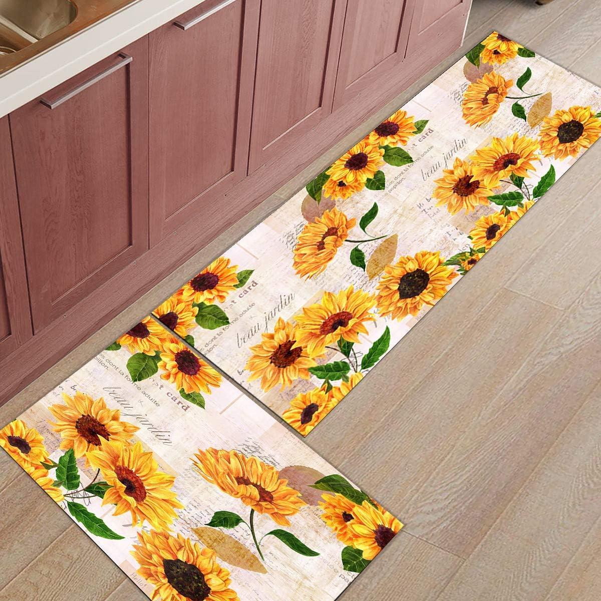 FOURFOOL Anti Fatigue Kitchen Floor Mat Set 9pcs,Yellow Sunflower Clipping  Retro Old Newspaper Farmhouse Sunflowers Wild Flowers,Non Slip Cushioned ...