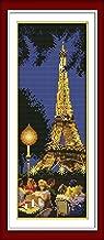 YEESAM ART New Cross Stitch Kits Advanced Patterns for Beginners Kids Adults - Paris Tower 11 CT Stamped 20×49 cm - DIY Needlework Wedding Christmas Gifts